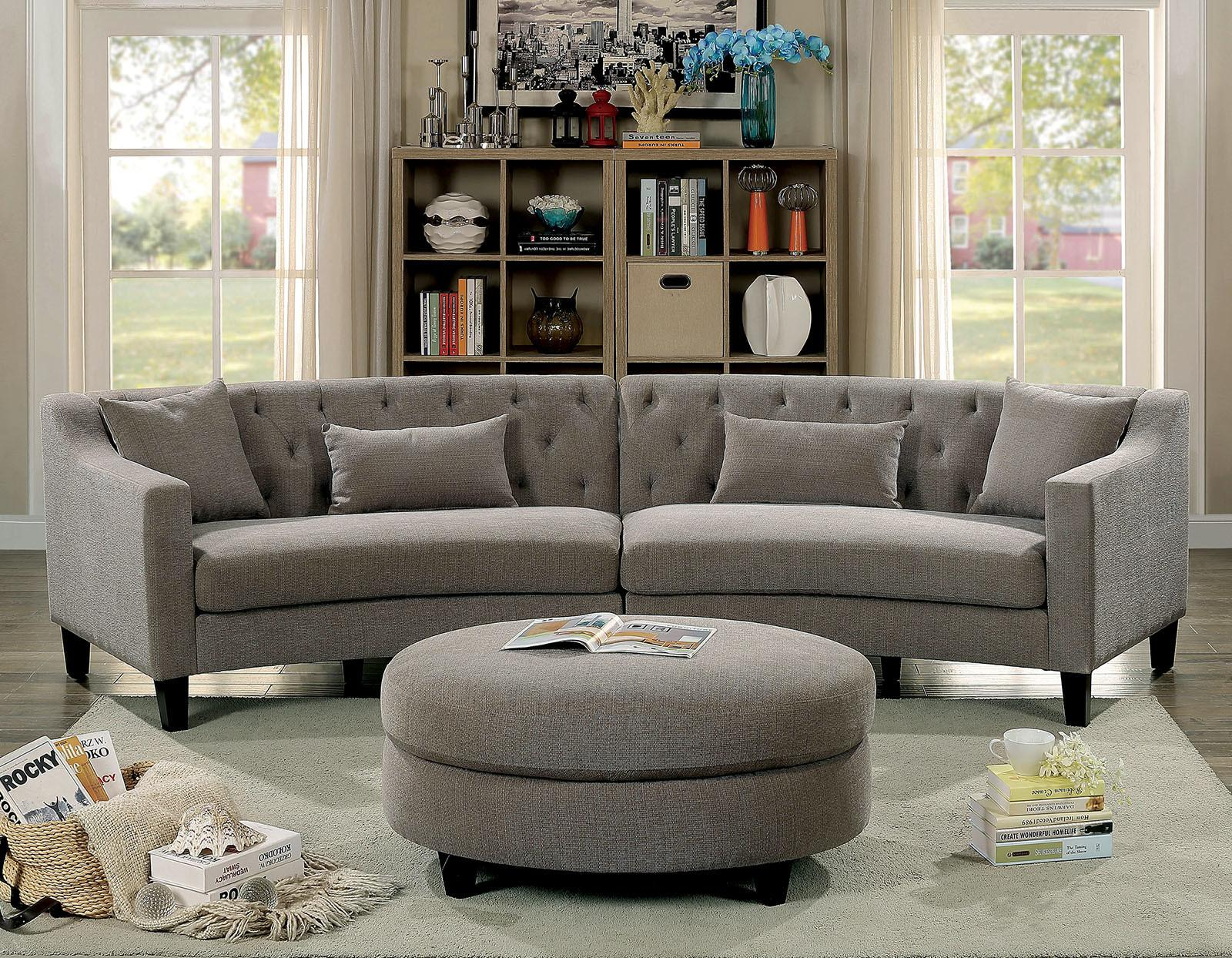 Sarin Contemporary Style Rounded Design Warm Grey Linen