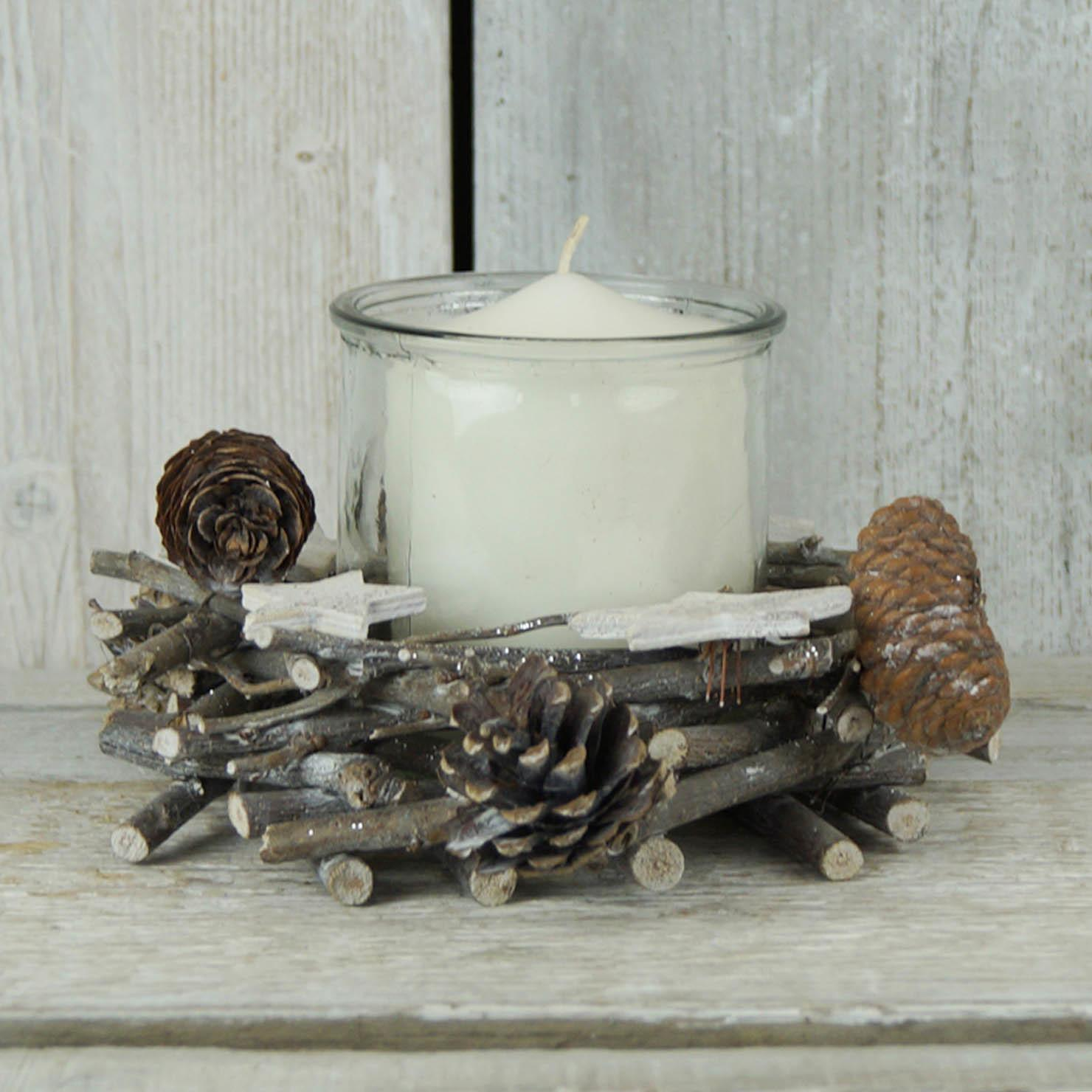Satchville Candle Holder White Stars Pine Cones