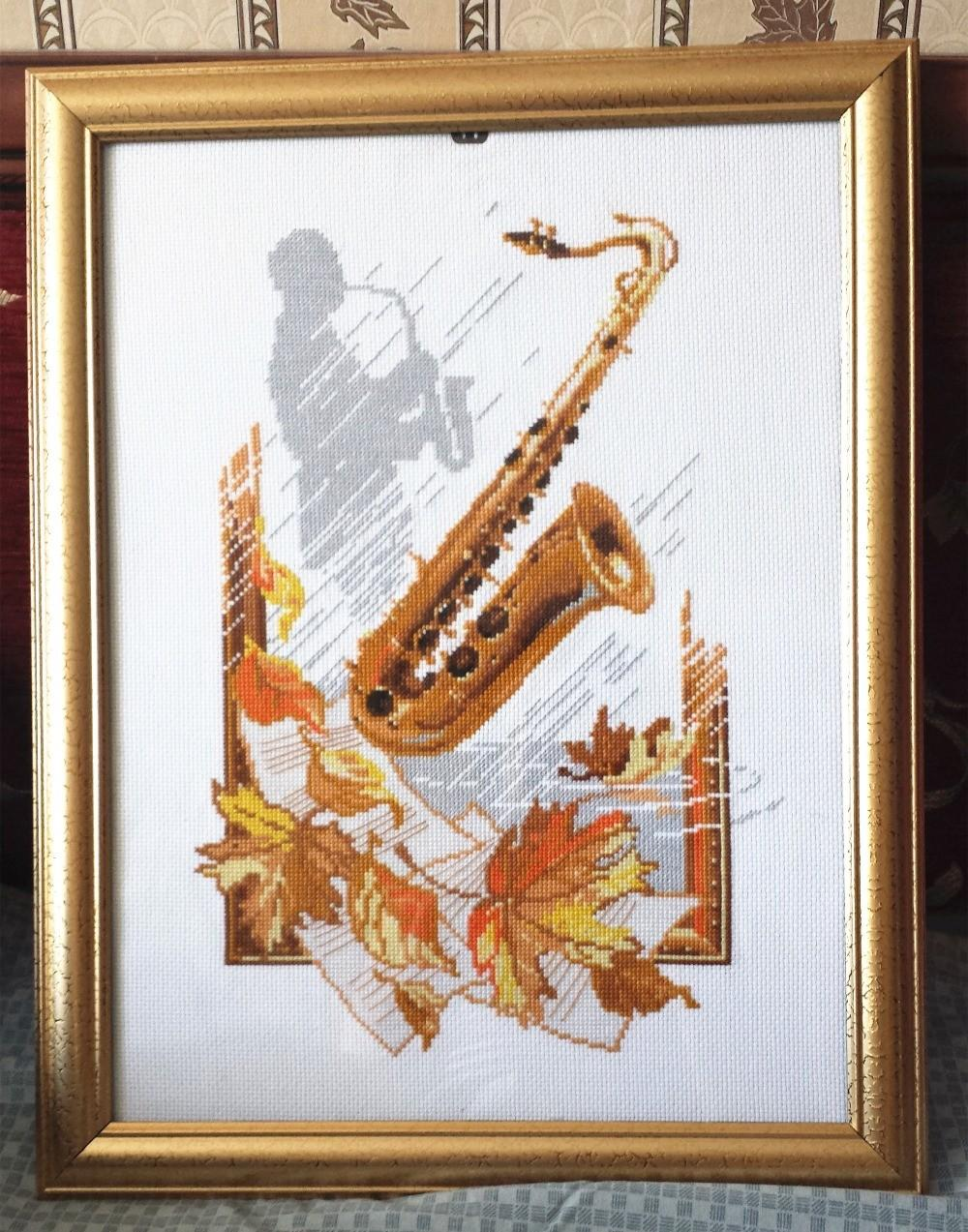 Saxophone Maple Leaf Cross Stitch Package People