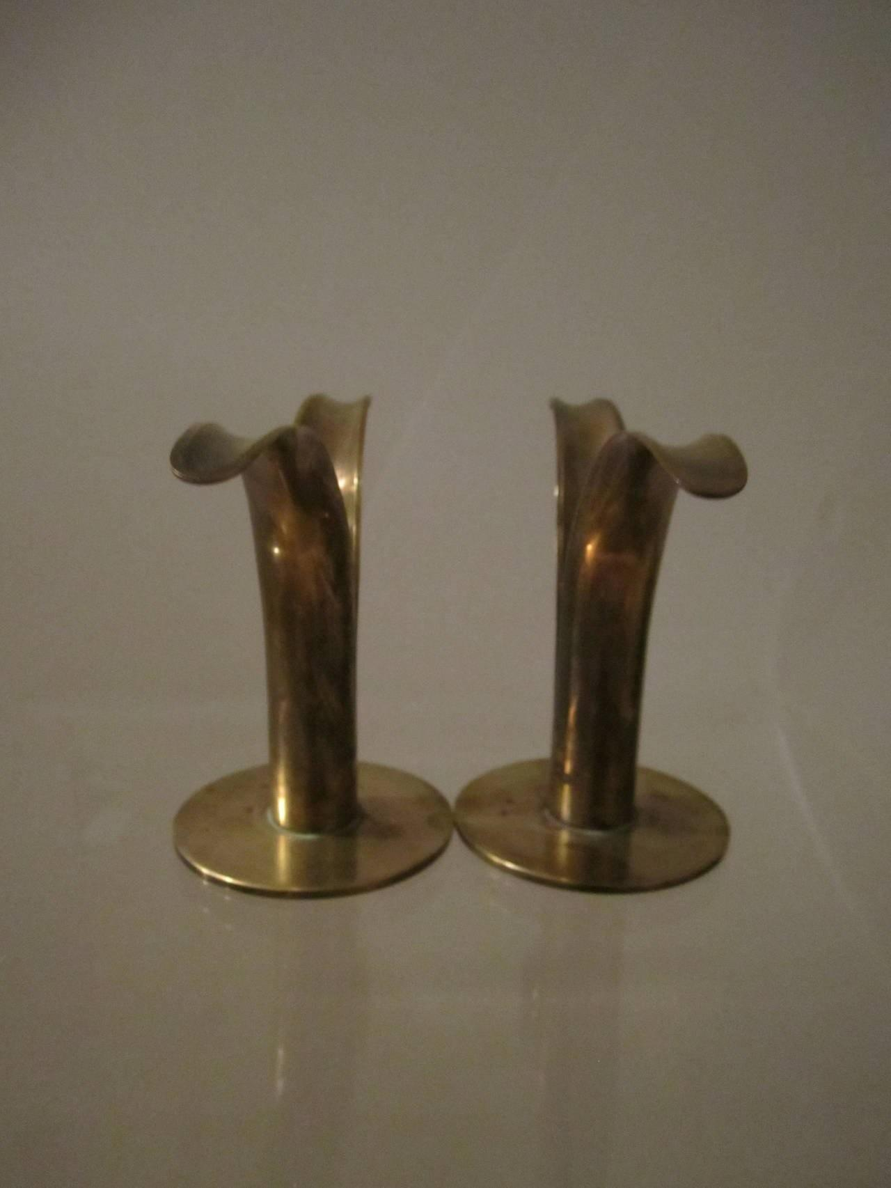 Scandinavian Modern Swedish Brass Candlestick Holders
