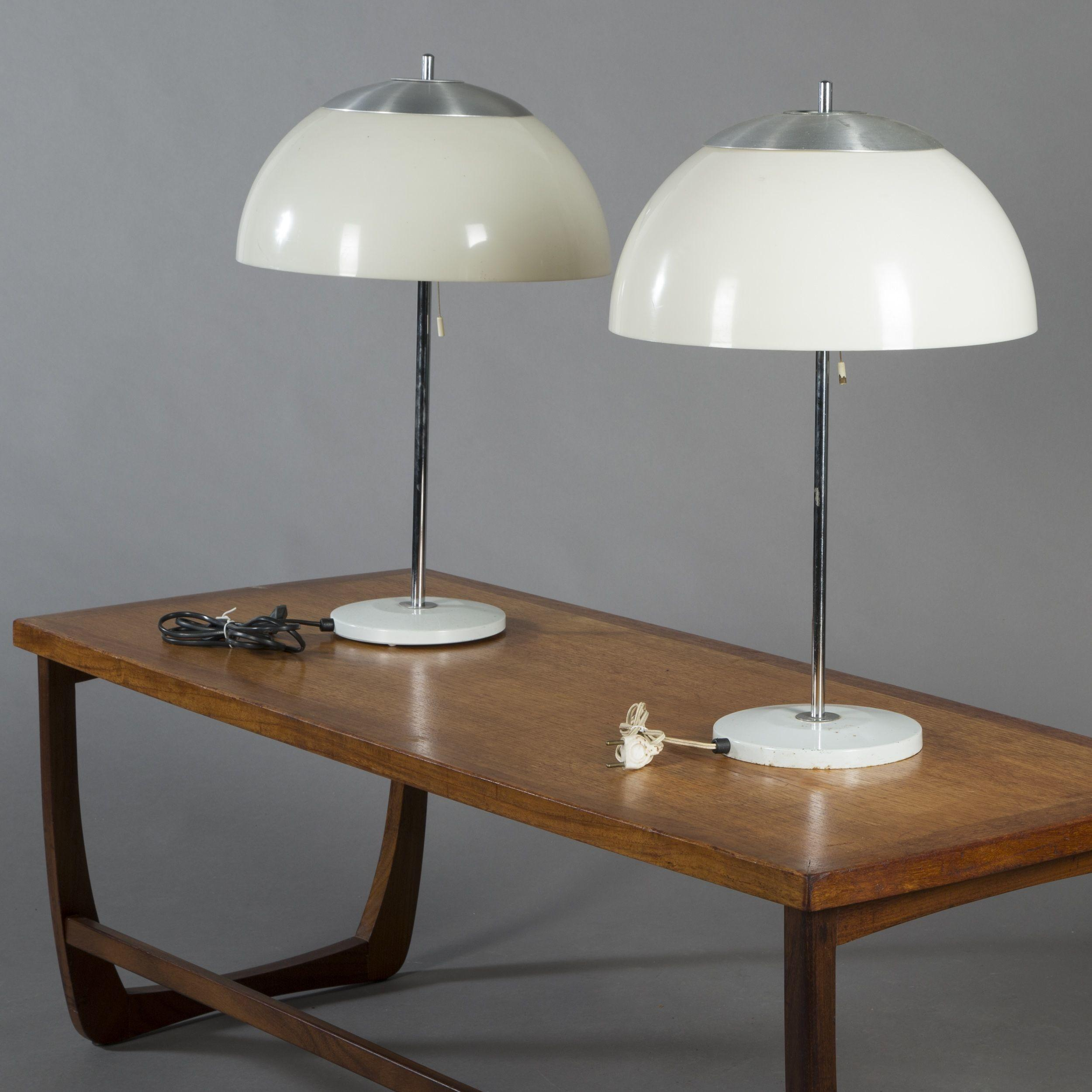 Scandinavian Style Table Two Pantone Lamps 20th