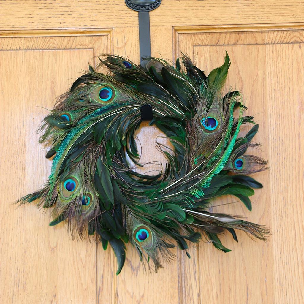 Schlappen Peacock Wreath Kelly Natural Feather Wreaths