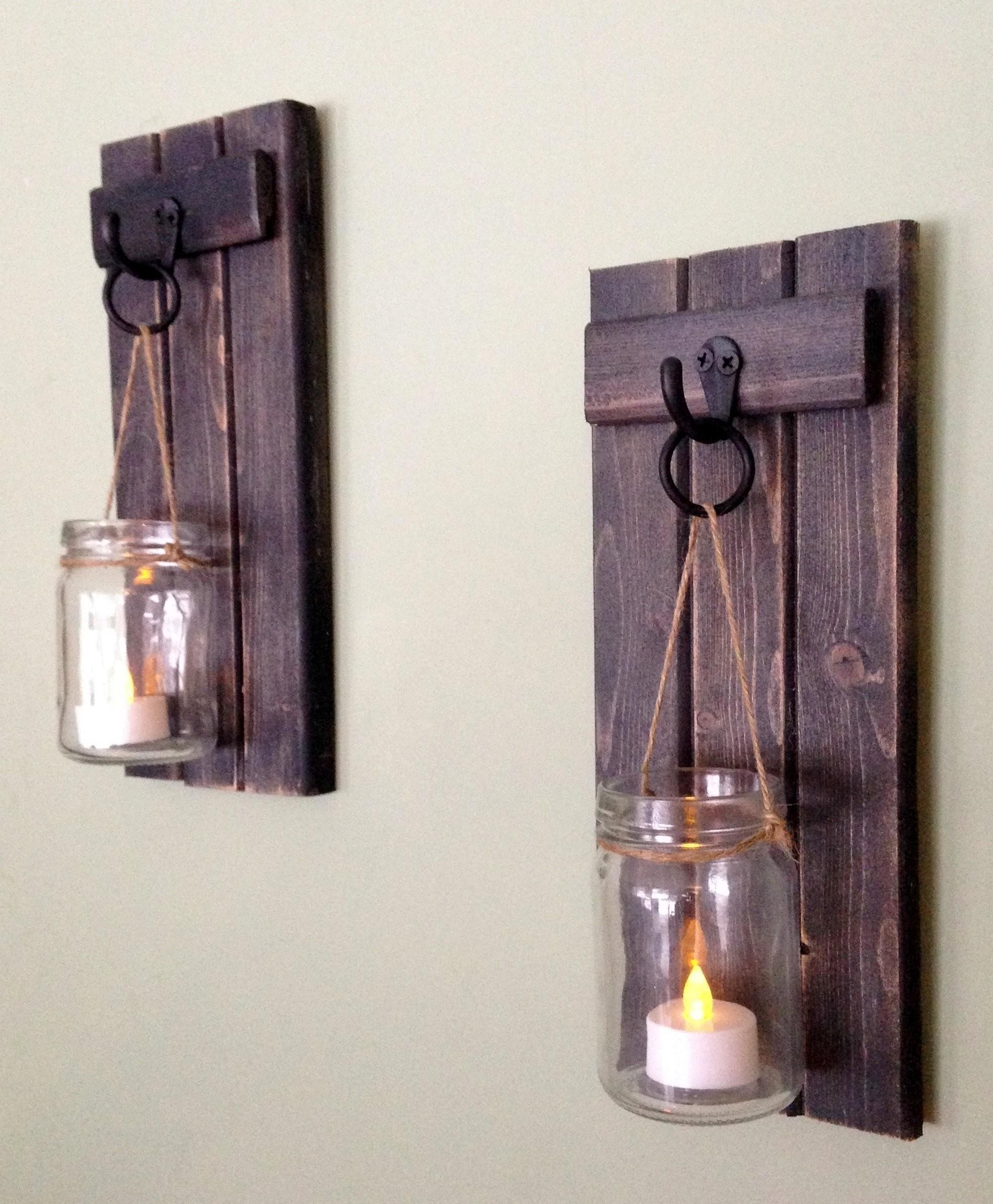 Sconce Wooden Candle Holder Rustic Wall Mason Jar