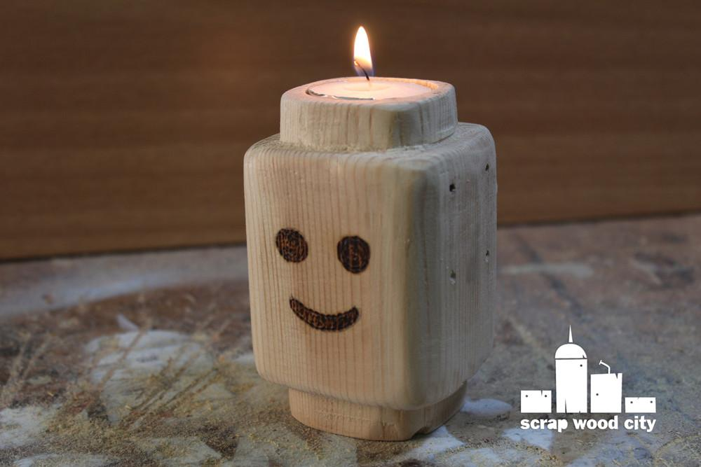 Scrap Wood City Diy Wooden Lego Head Style Candle Holder
