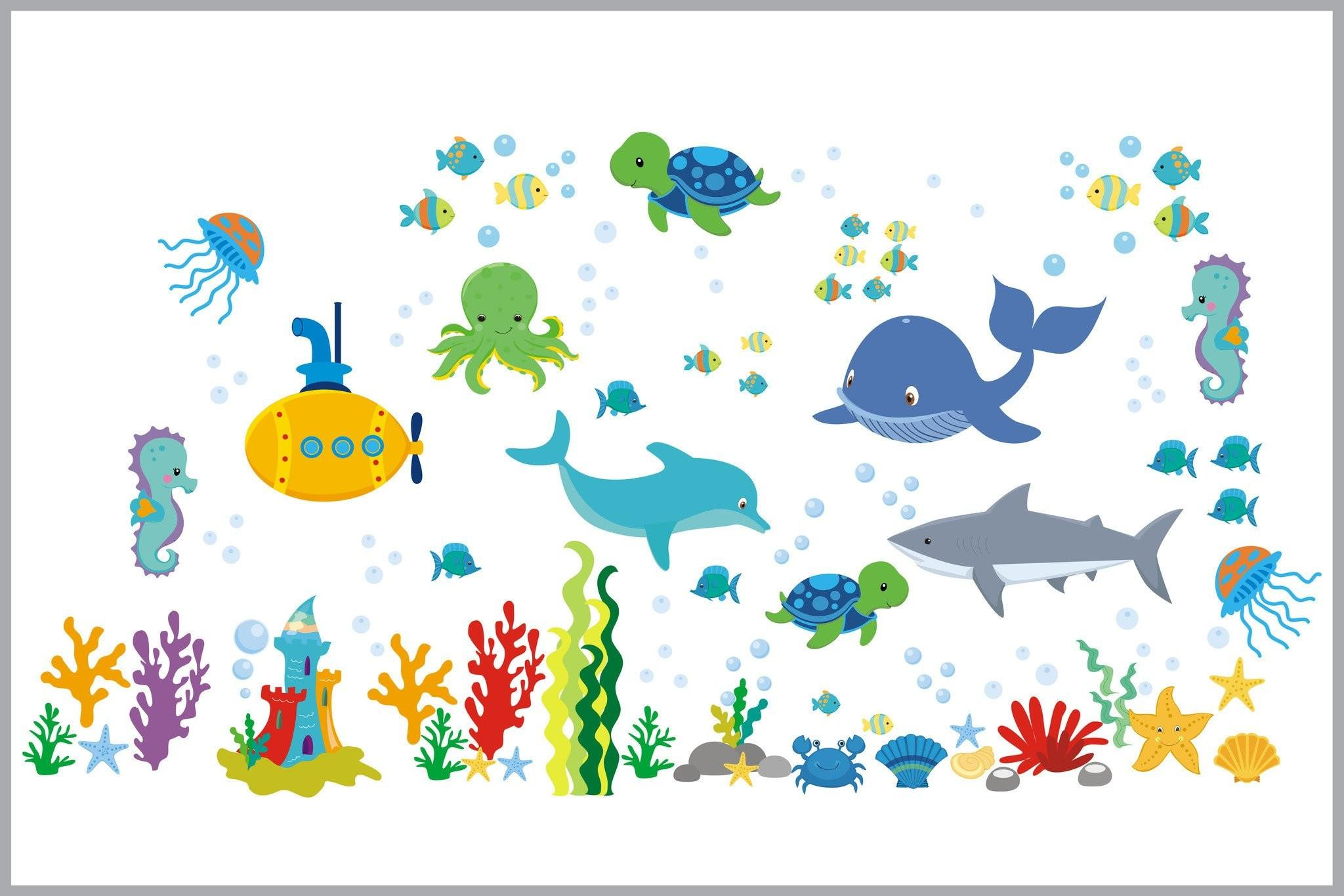 Sea Creatures Nursery Decals Baby Room Stickers Ocean