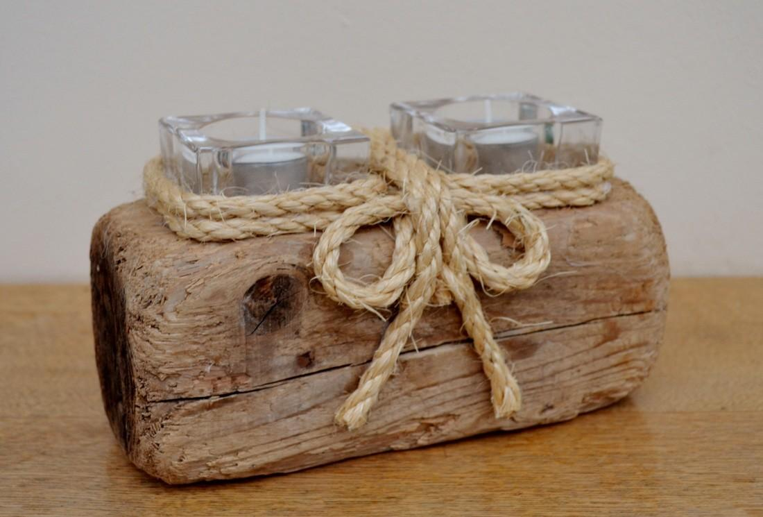 Sea Driftwood Candle Holders Created Yorkshire
