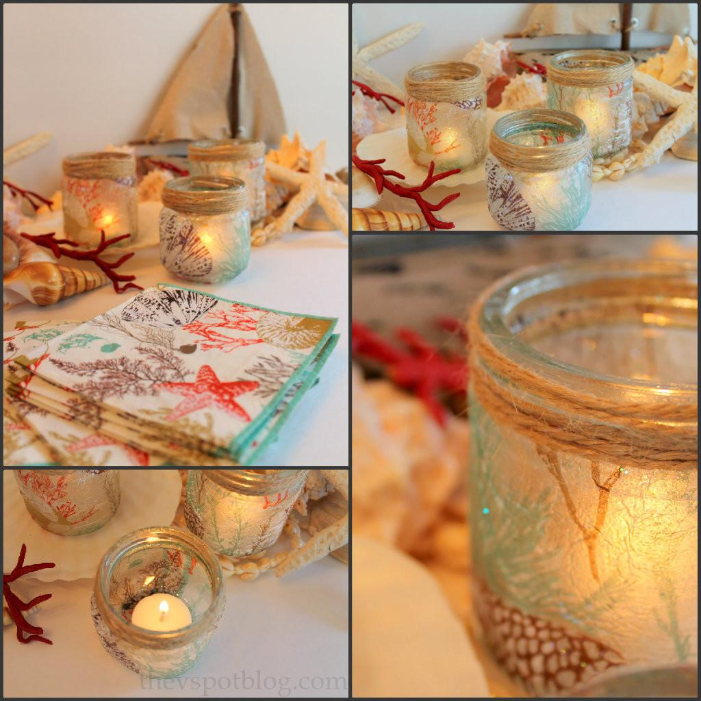 Sea Inspired Diy Candle Holders Made Glass Jars