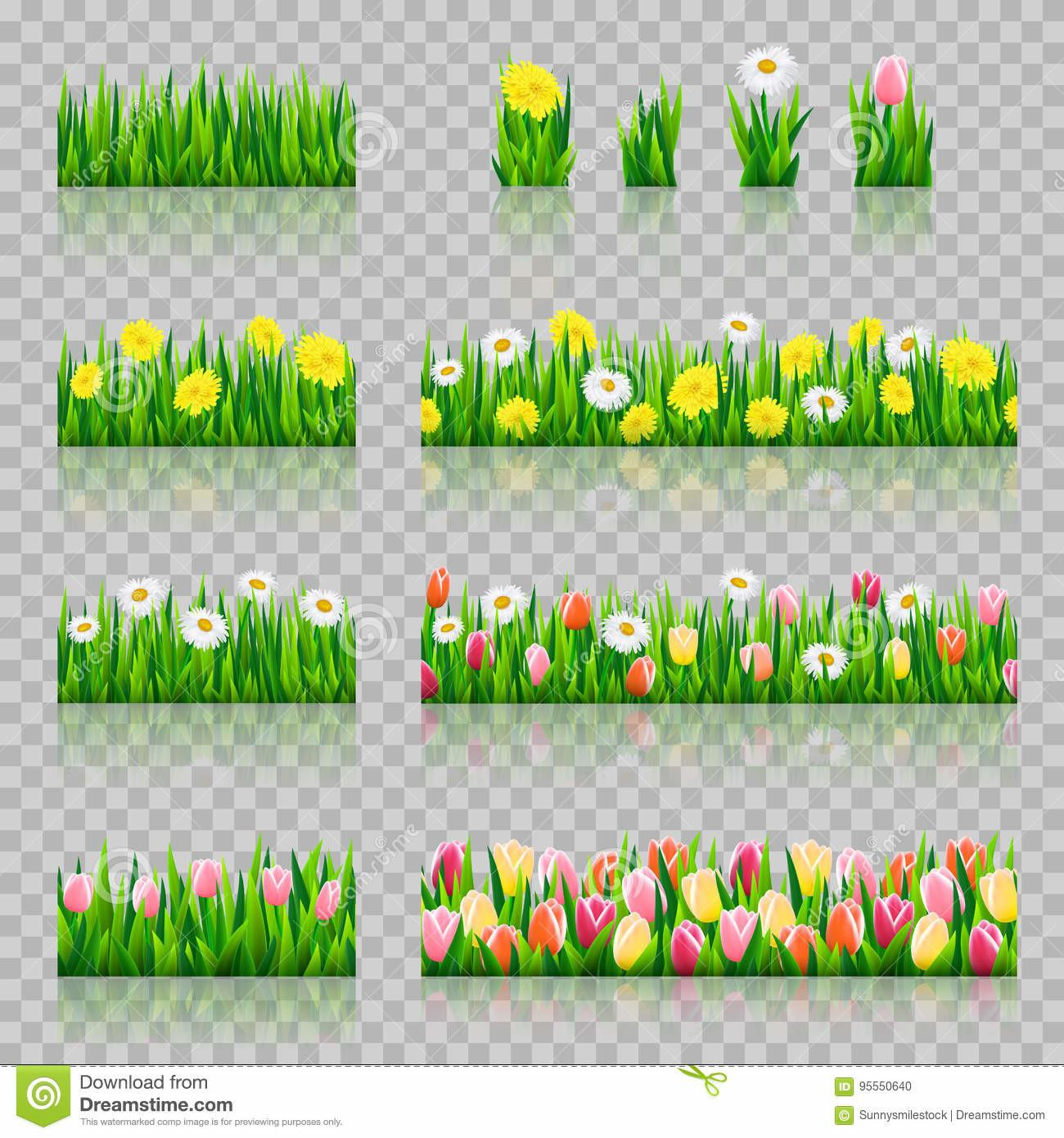 Seamless Grass Border Stock Vector