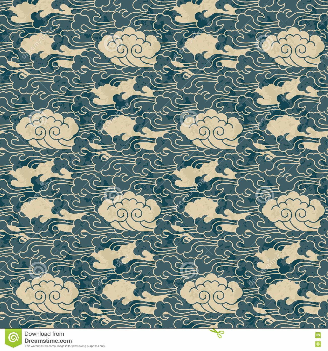 Seamless Traditional Cloud Chinese Pattern Design Stock