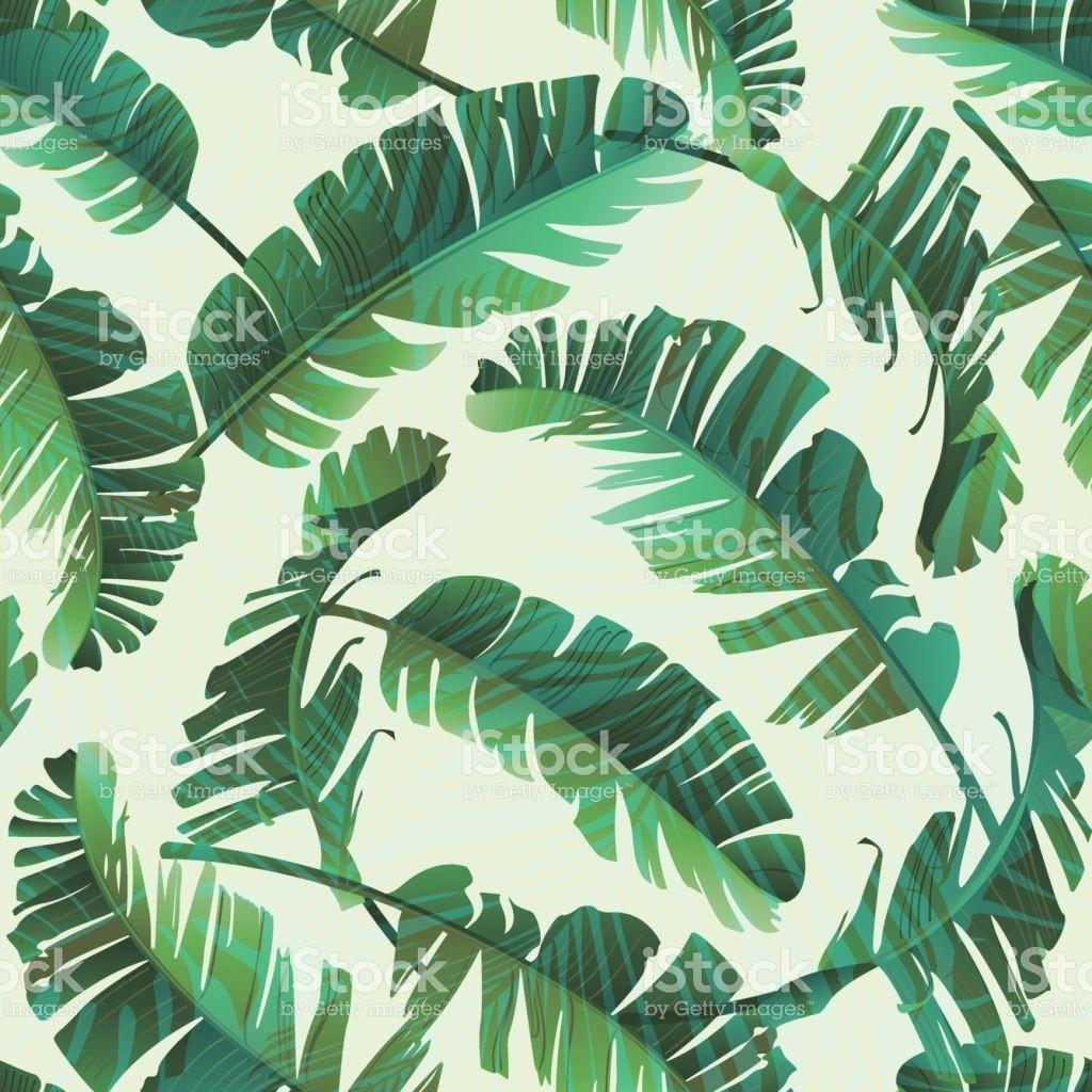 Seamless Watercolor Illustration Tropical Leaves Jungle