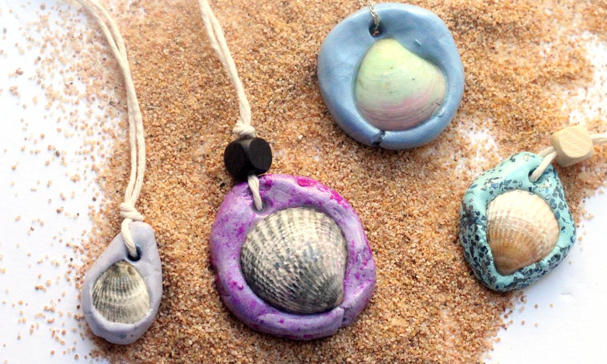 Seashell Necklace Easy Clay Jewelry Craft Moms