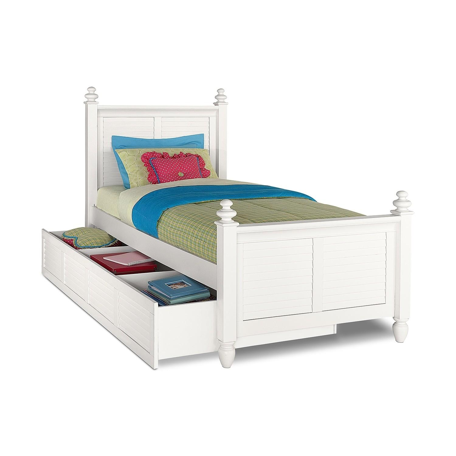 Seaside Twin Bed Trundle White Value City Furniture