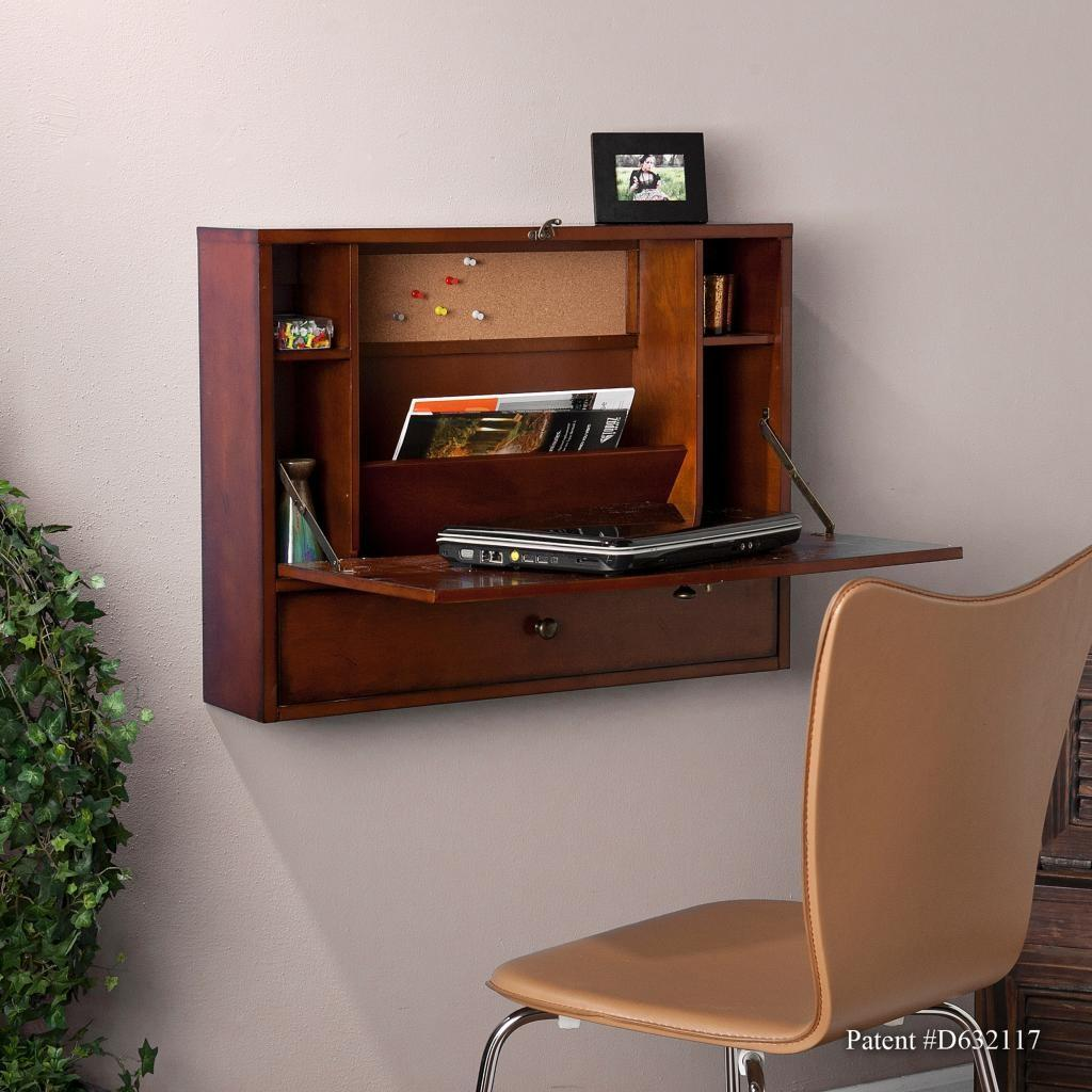 Sei Wall Mount Laptop Desk Brown Mahogany