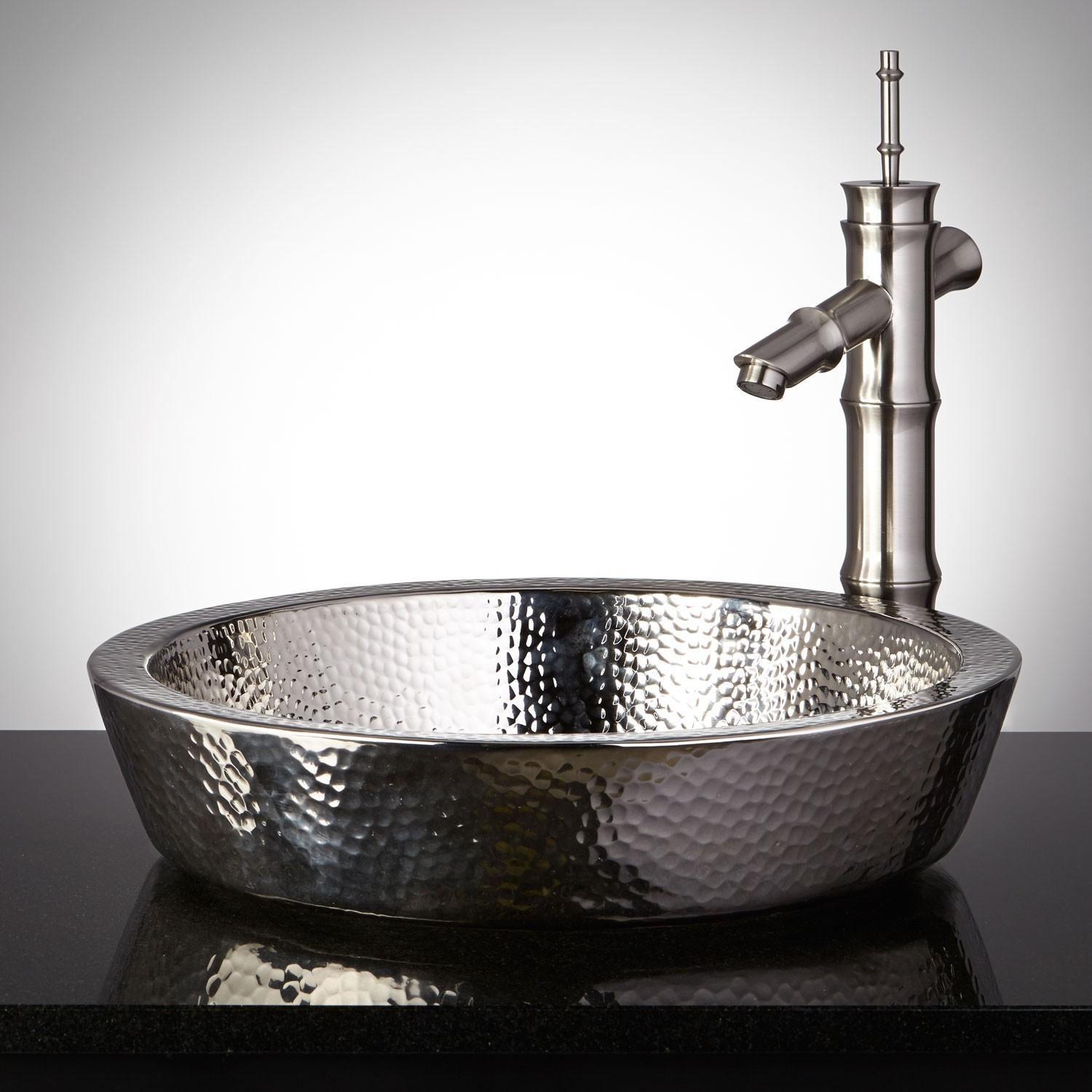 Semi Recessed Copper Sink Hammered Polished Nickel
