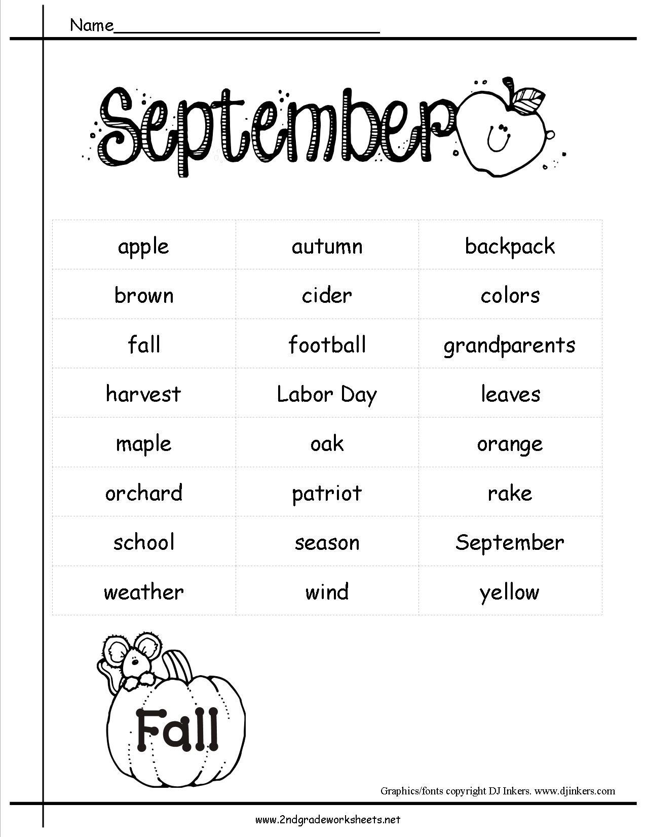September Holidays Themes Lesson Plans Printouts