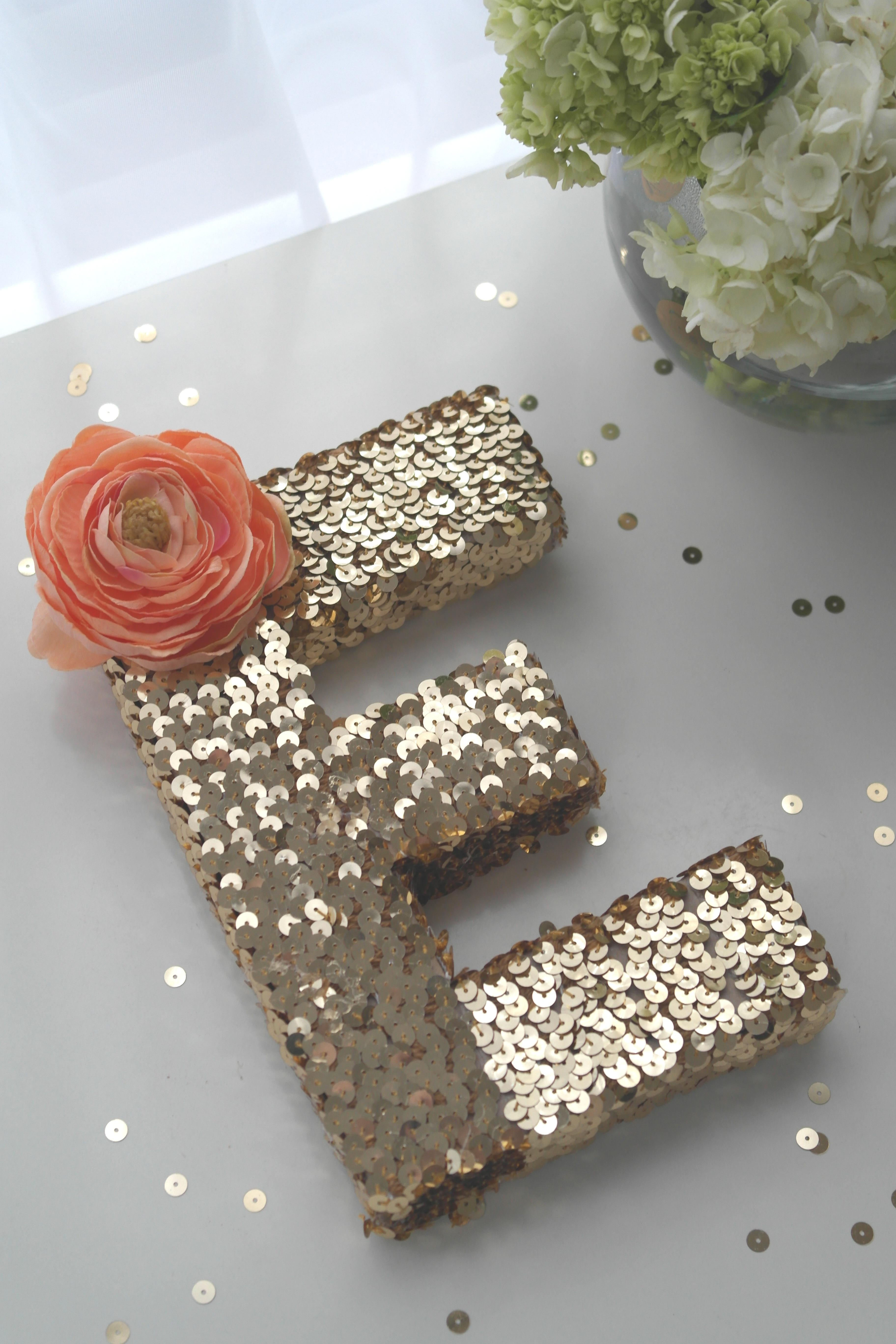 Sequin Monogram Letter Diy Catch Party
