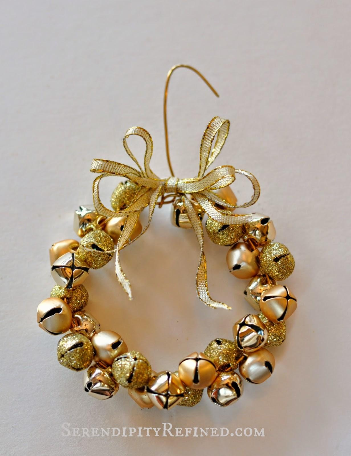 Serendipity Refined Blog Easy Gold Jingle Bell Wreath