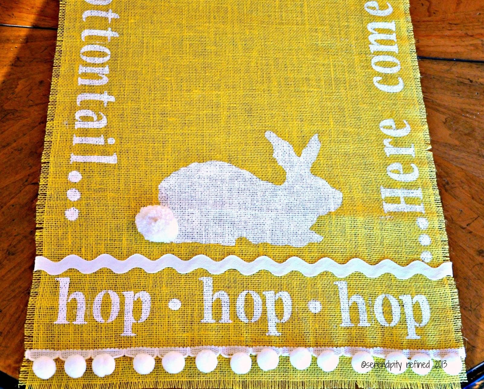 Serendipity Refined Blog Stenciled Burlap Bunny Table