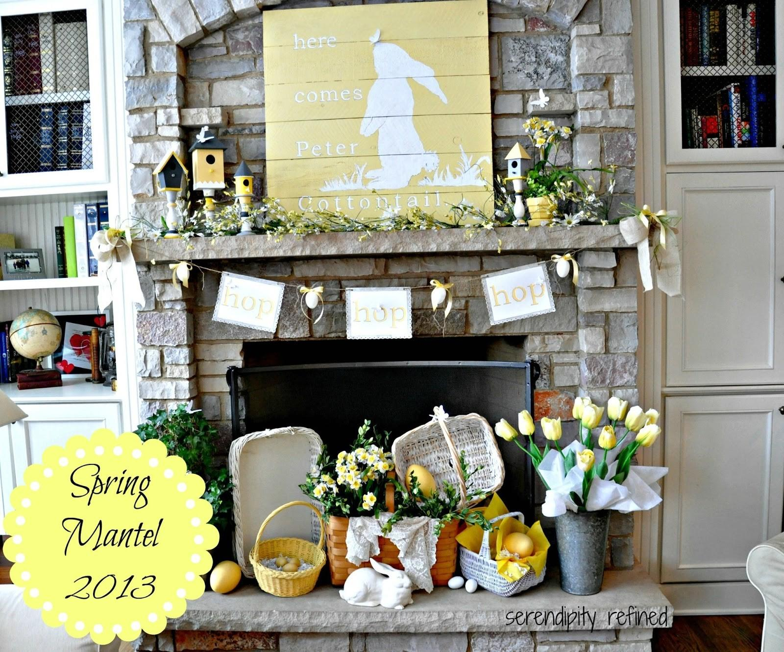 Serendipity Refined Blog Yellow White Spring Bunny Mantel