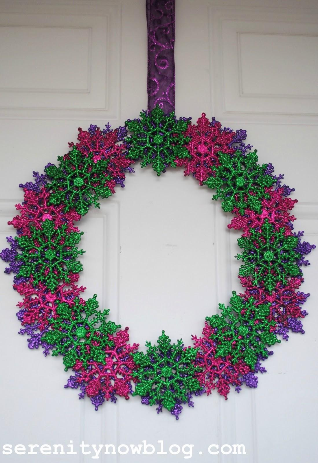 Serenity Now Glitter Snowflake Wreath Leftover Ornaments