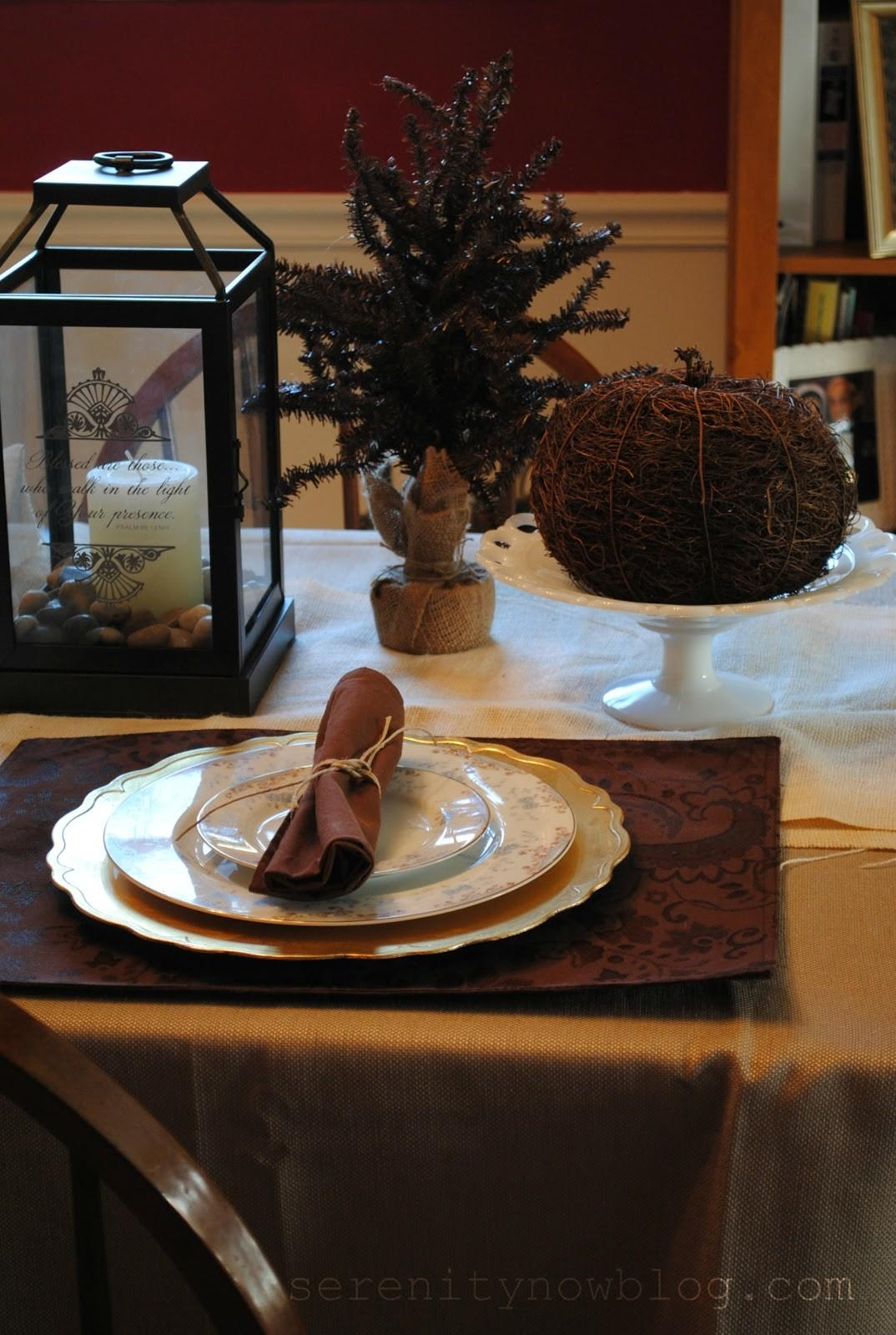Serenity Now Inexpensive Thanksgiving Table Decor