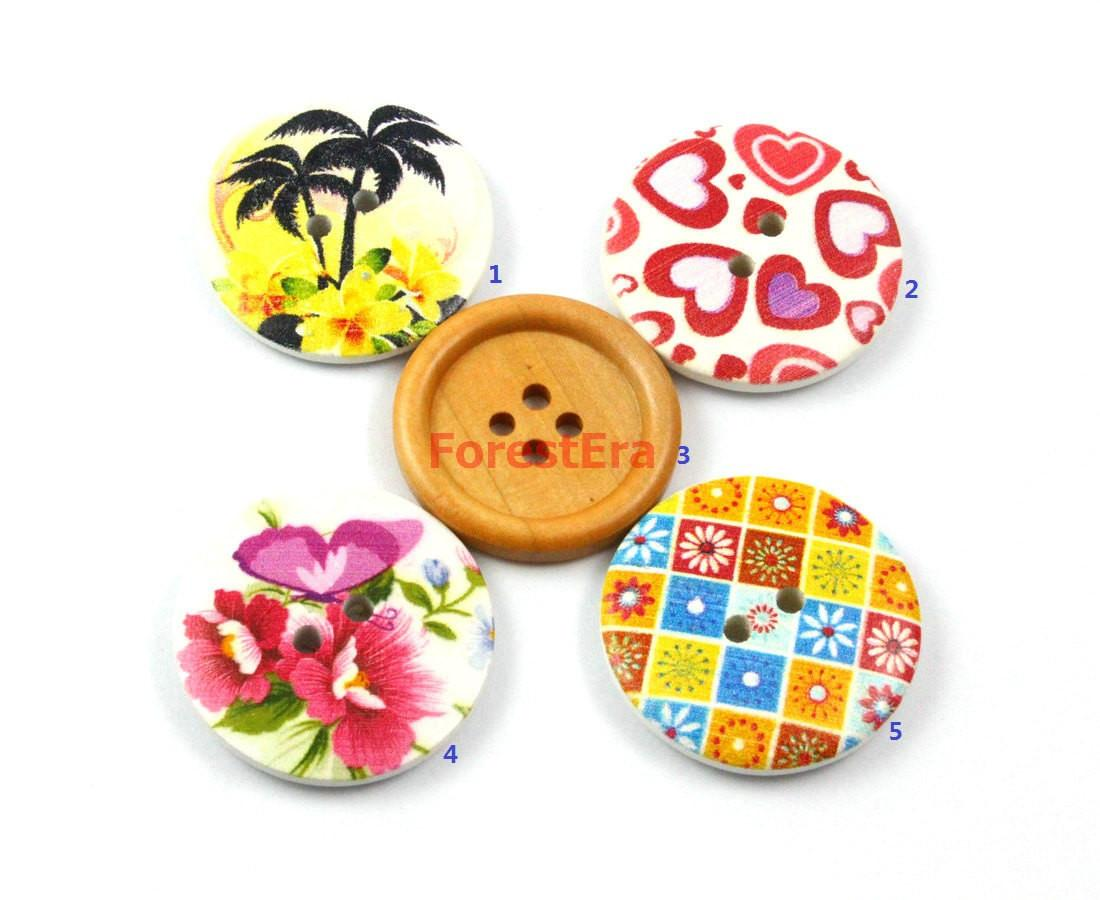 Set 106 Pieces 30mm Flower Painted Wood Buttons Floral