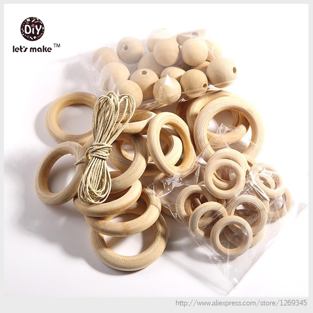 Set 10pc Unfinished Wood Rings 50pc Wooden