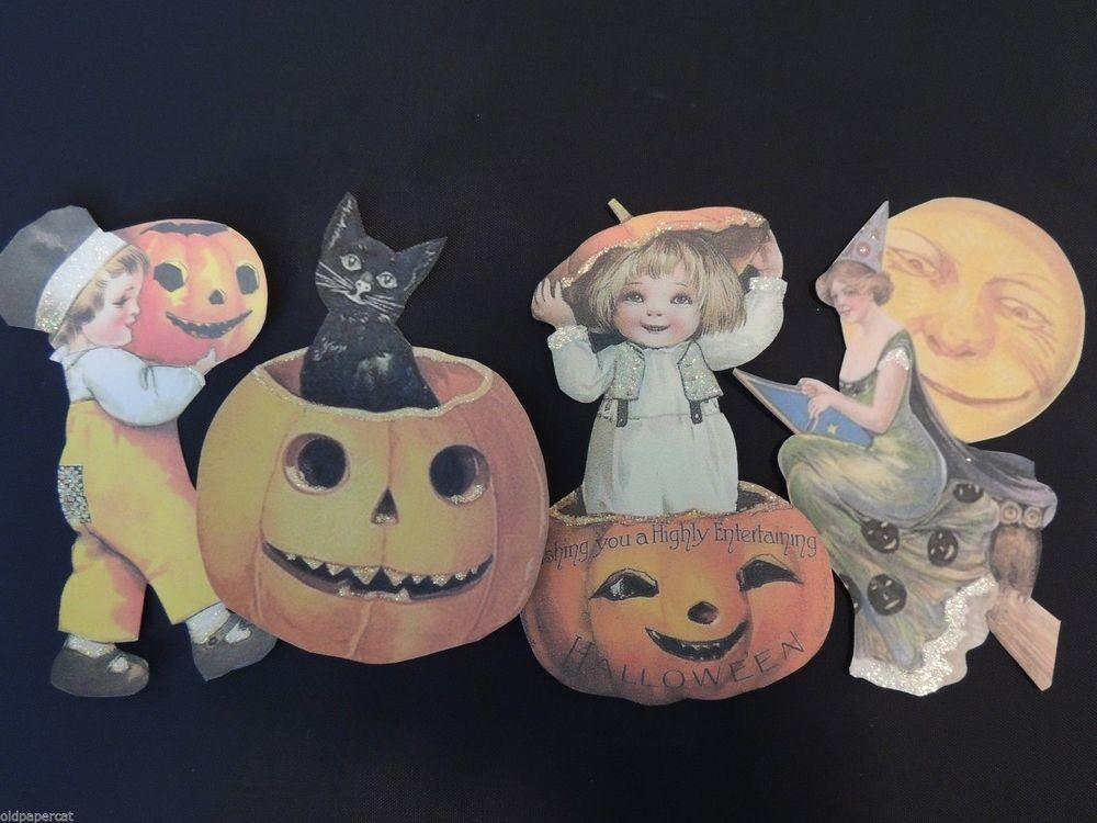 Set Adorable Vintage Halloween Die Cuts Crafts