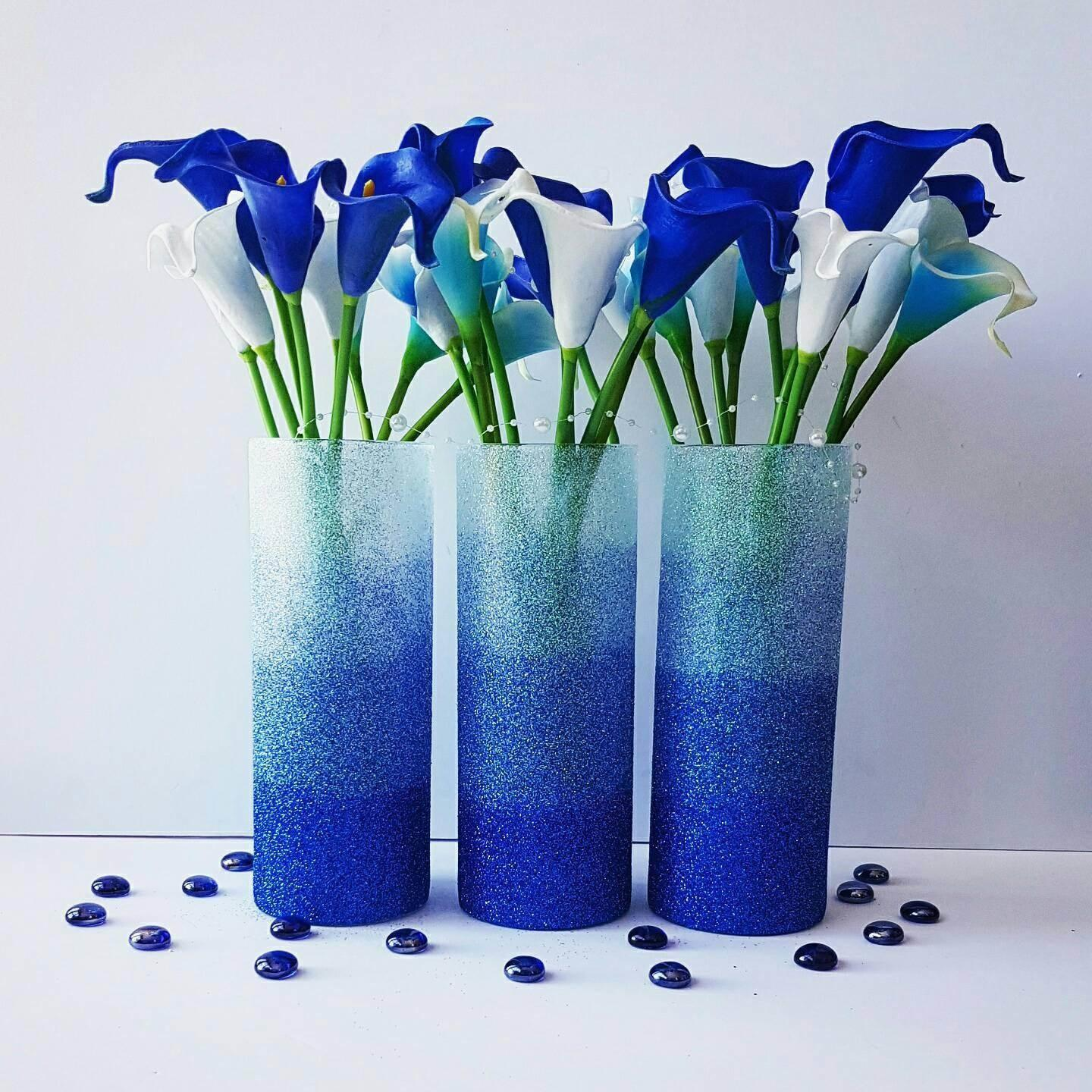 Set Beachy Vases Wedding Centerpiece Blue Ombre Vase