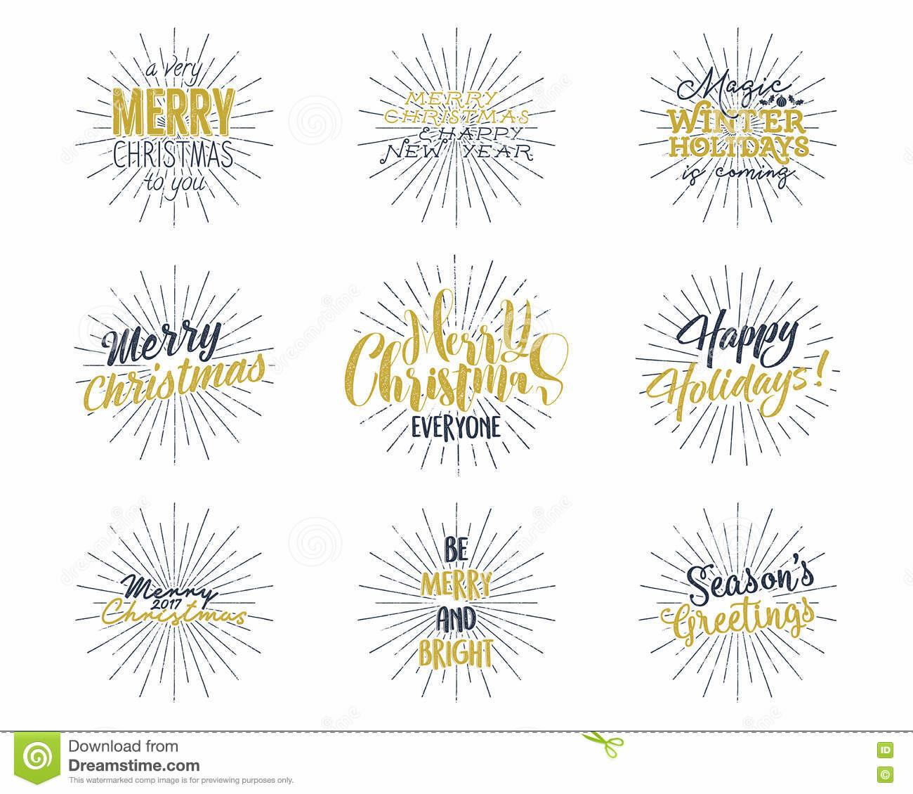 Set Christmas New Year 2017 Lettering Wishes