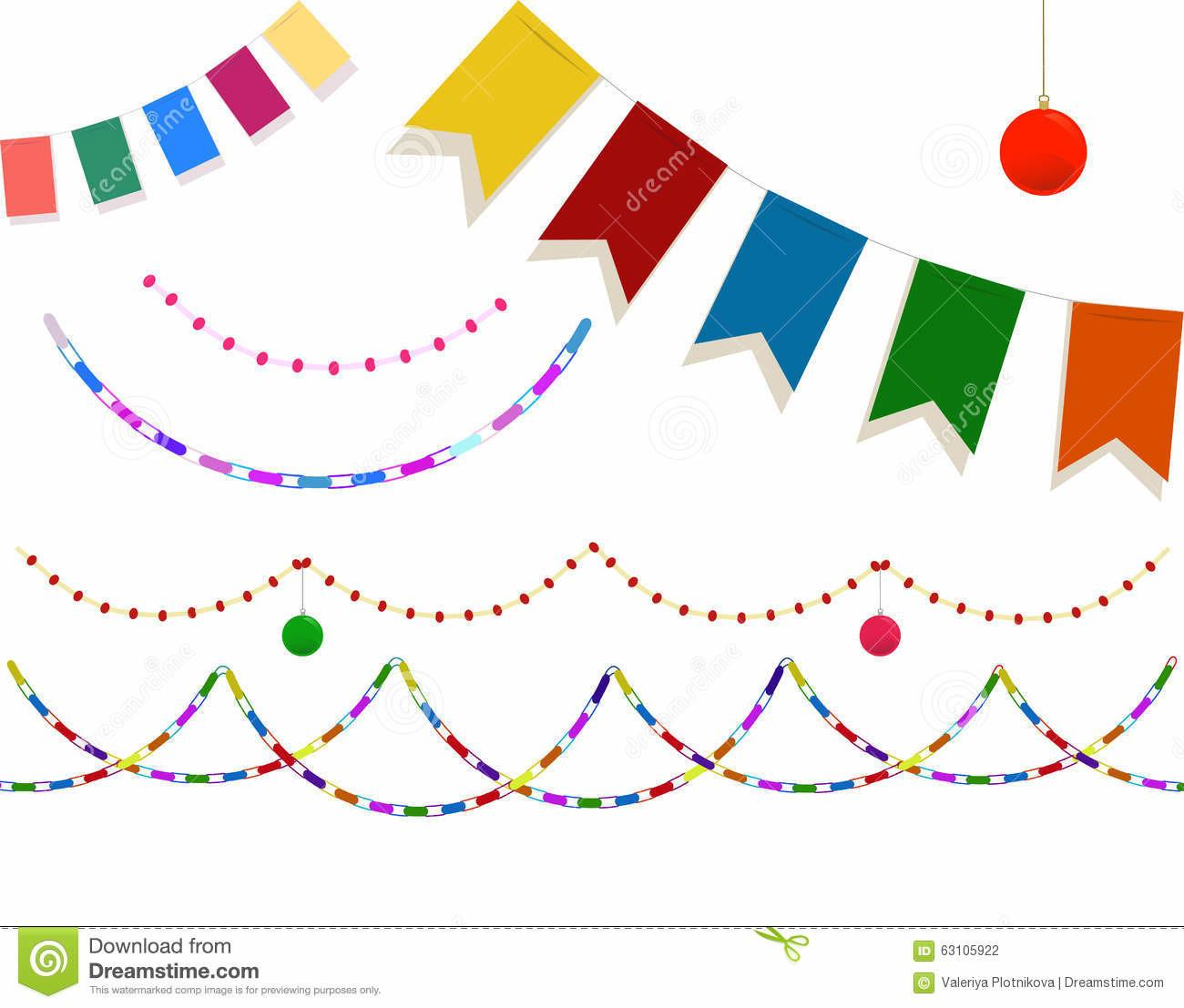 Set Festive Christmas Decorations Stock Vector