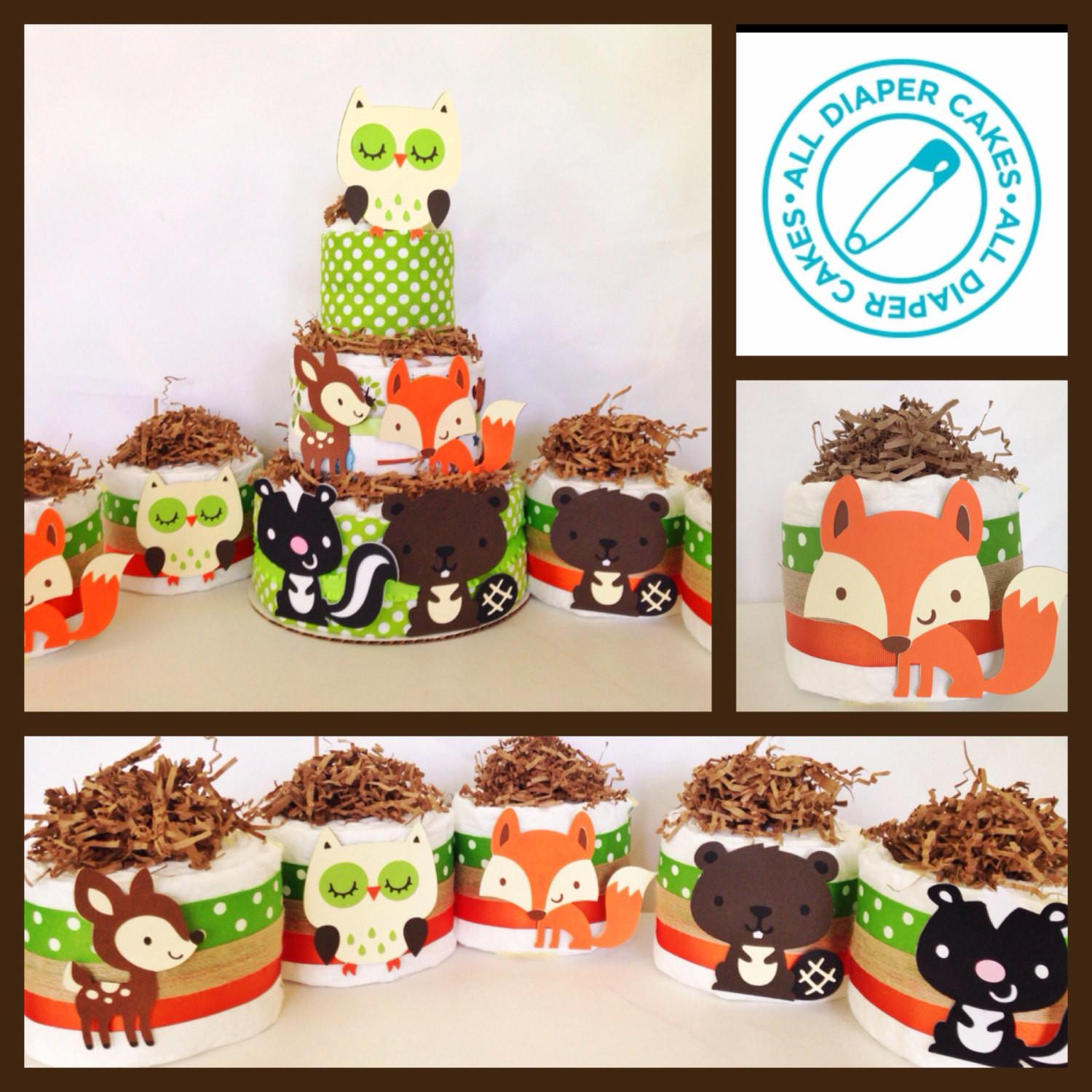 Set Five Mini Woodland Theme Diaper Cakes