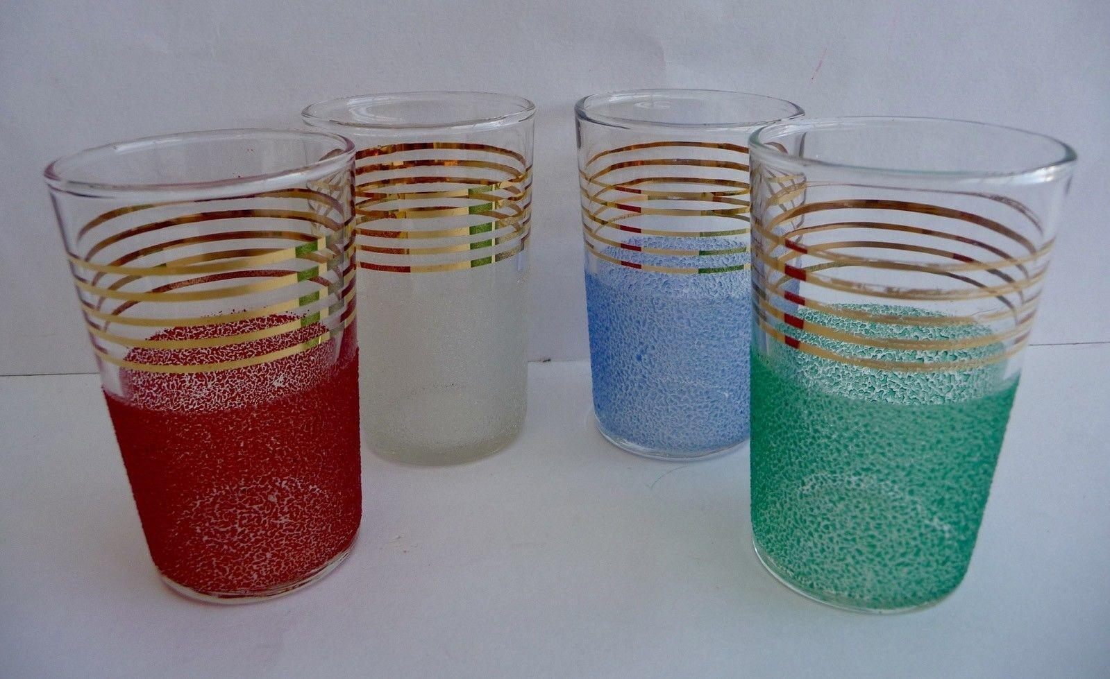 Set Four Gilded Sugar Frosted Multi Coloured Cocktail
