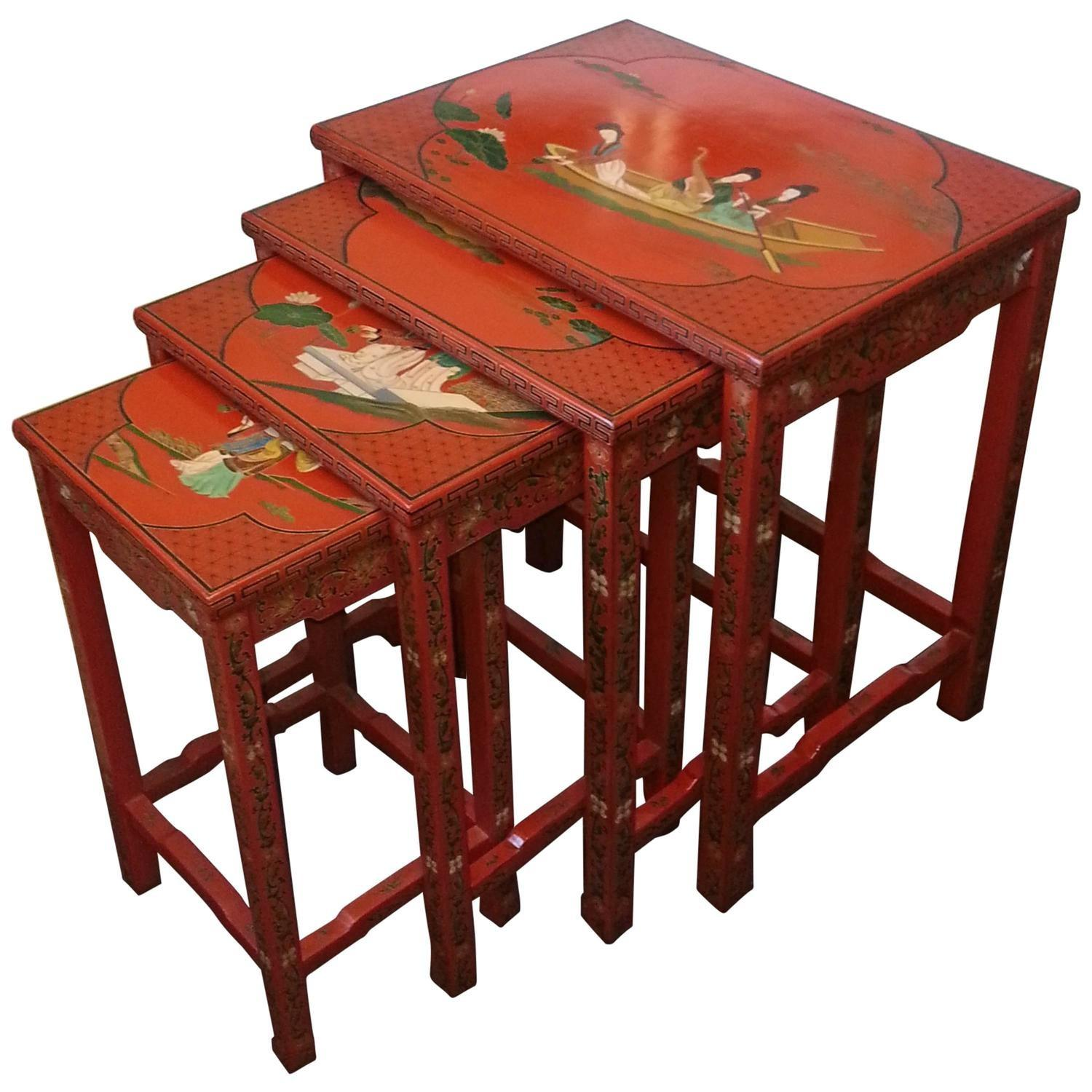 Set Four Hand Painted Lacquer Chinese Nesting Tables