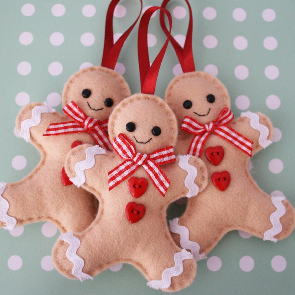 Set Gingerbread Man Felt Tree Ornaments