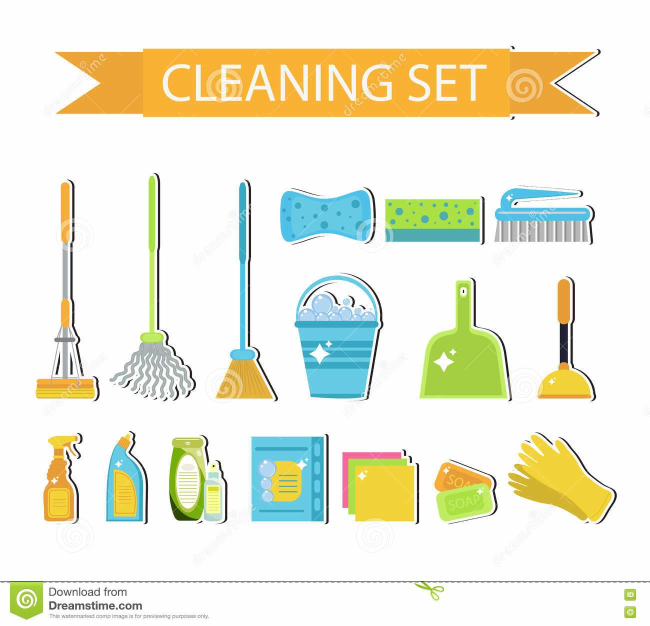 Set Icons Cleaning Tools House