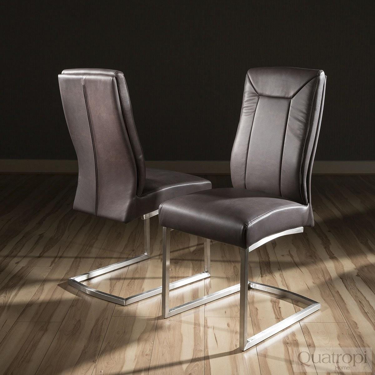 Set Large Super Comfy Modern Dining Chairs Brown Faux