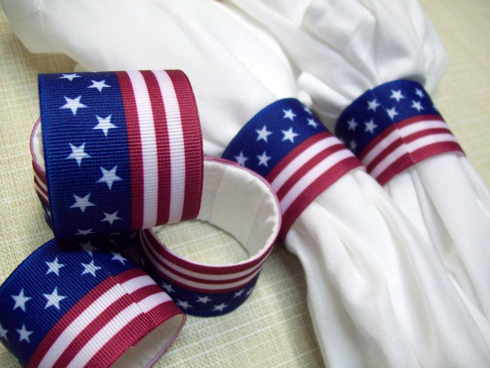 Set Napkin Rings Stars Stripes 4th July Table