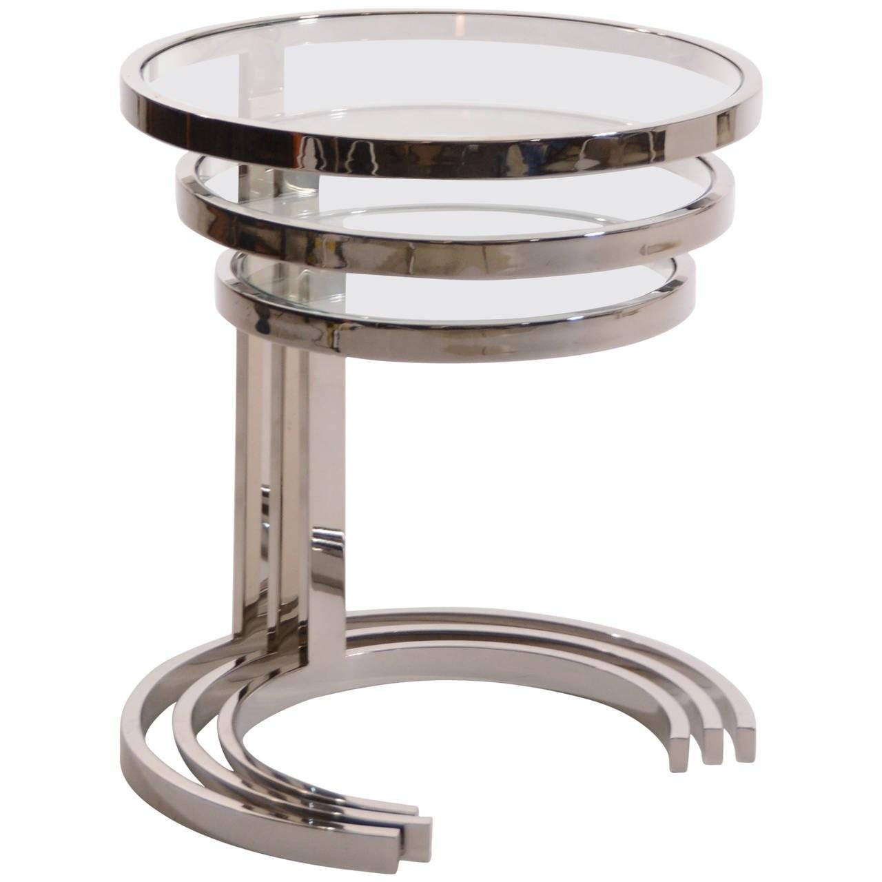 Set Nesting Stainless Steel Glass Tables