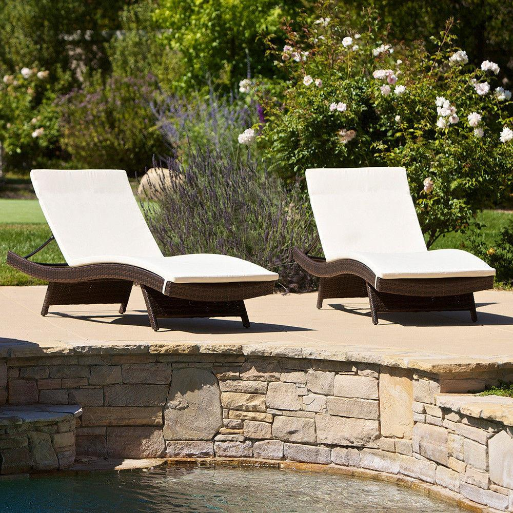 Set Outdoor Patio Pool Adjustable Wicker Chaise