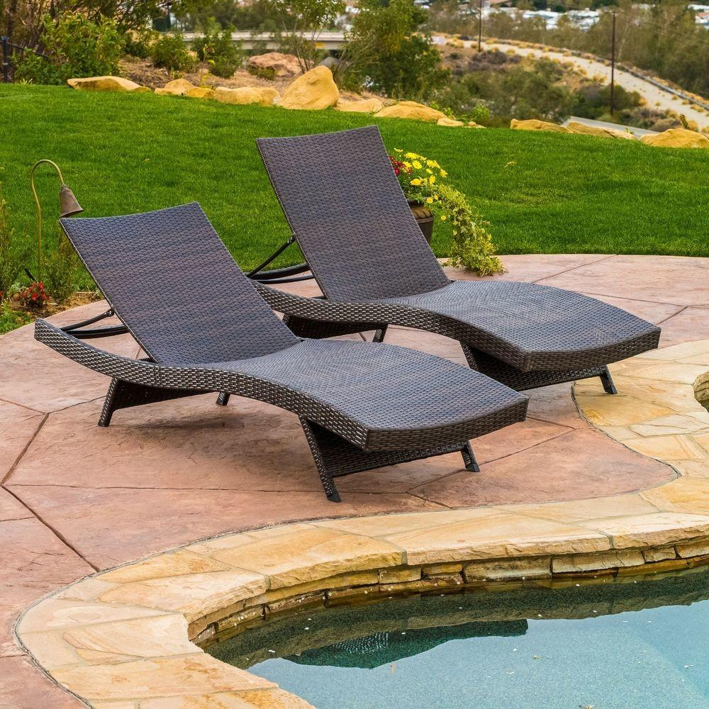 Set Outdoor Patio Pool Wicker Chaise Lounge Chairs