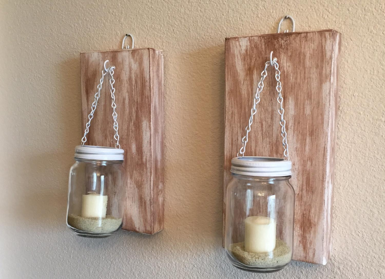 Set Rustic Mason Jar Wall Sconce Candle Sconces Narsch