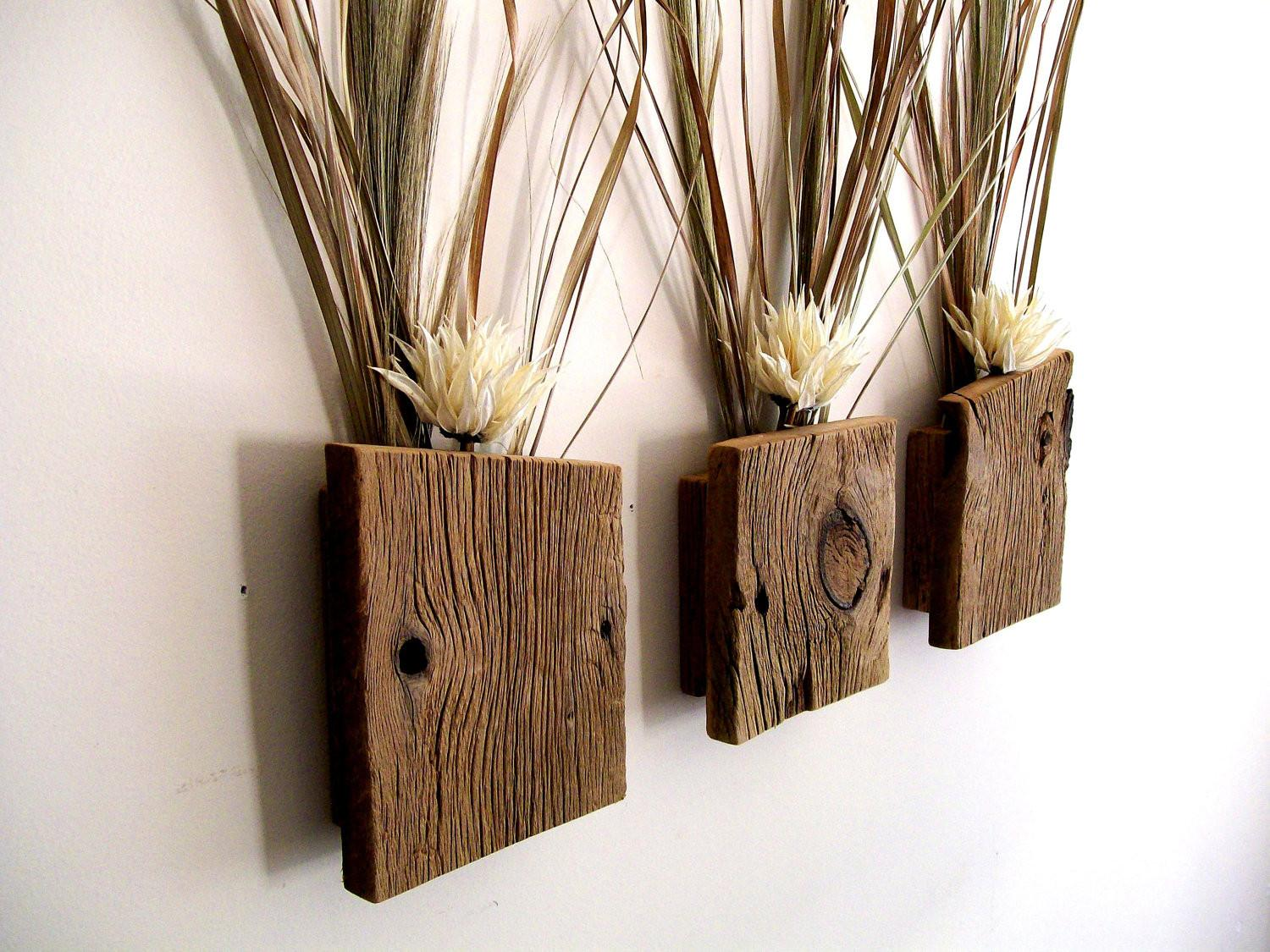 Set Rustic Reclaimed Barn Wood Wall Vase Flower