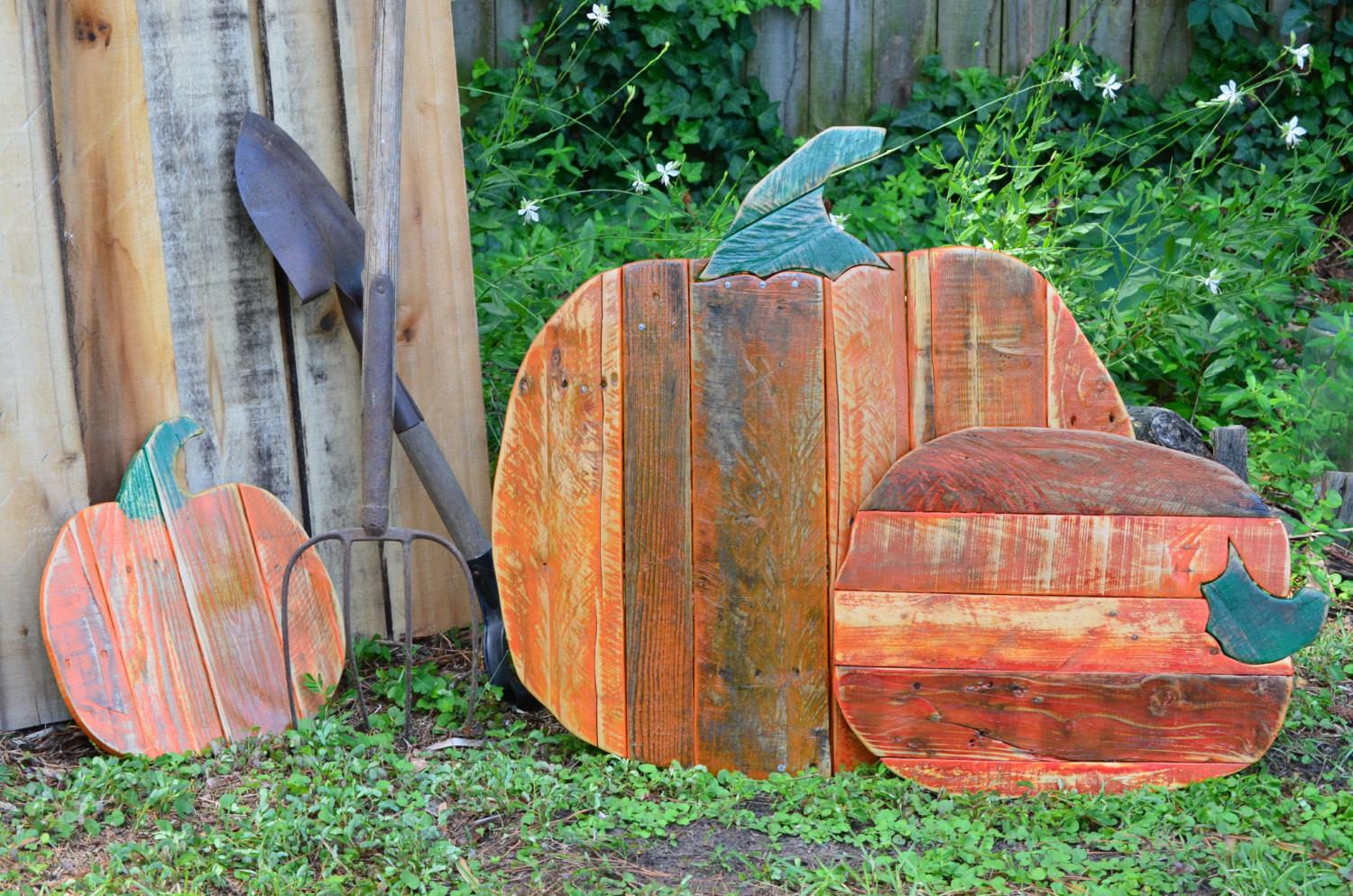Set Rustic Reclaimed Wood Pumpkins Pallet Almaboheme