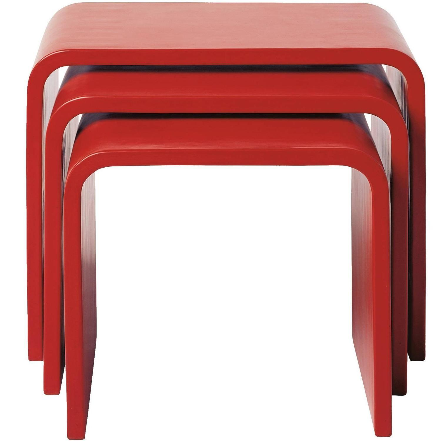 Set Waterfall Red Lacquer Nesting Table Sale 1stdibs