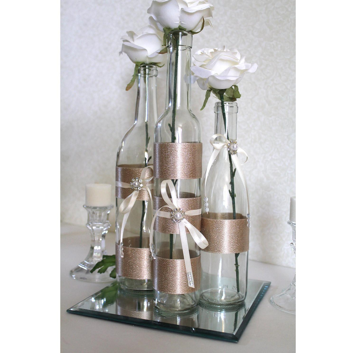 Set3 Decorated Wine Bottle Centerpiece Champagne