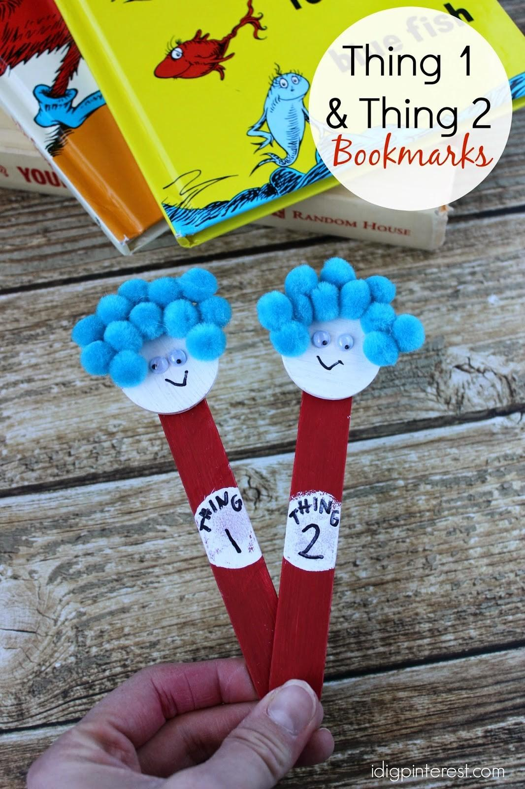 Seuss Kids Craft Thing One Two Bookmarks