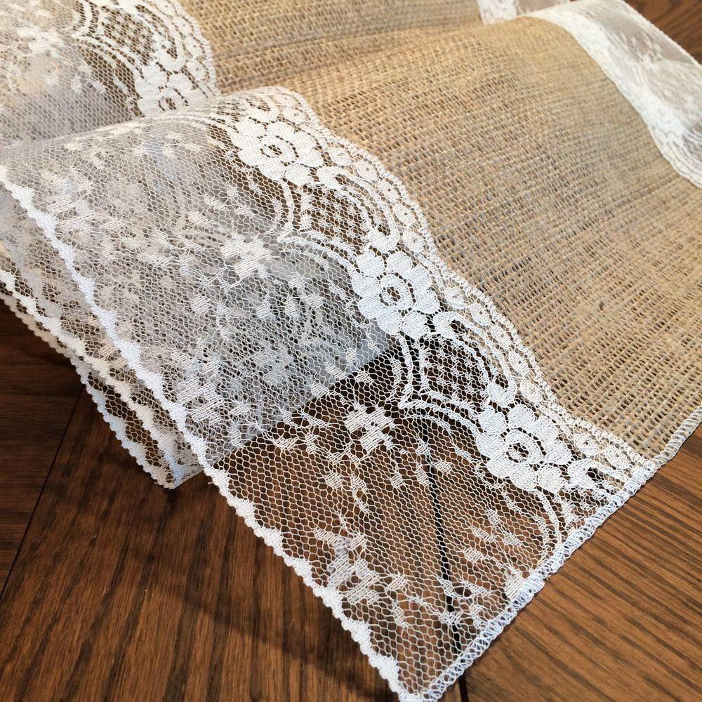 Shabby Chic Burlap Lace Table Runners Eliza