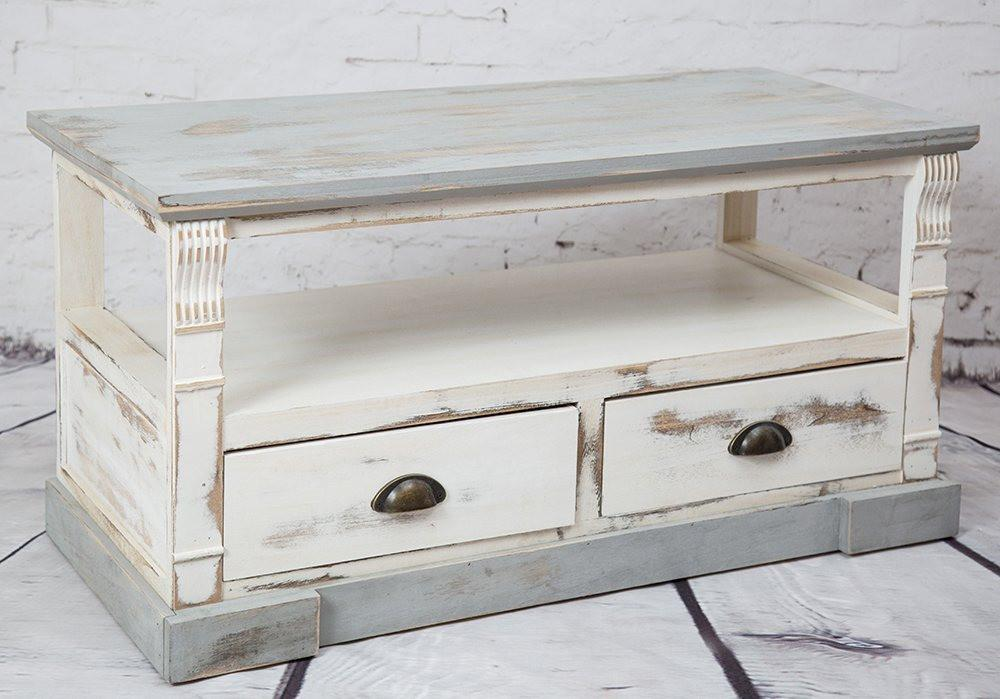 Shabby Chic Cream Wash Wood Unit Two Drawers