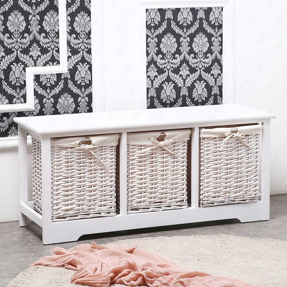 Shabby Chic Drawer Wood Cupboard Cabinet Table Wicker